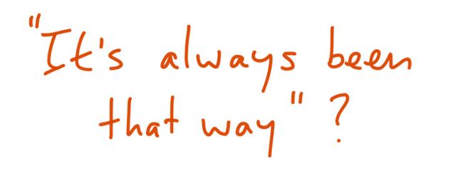 """""""It's always been that way""""?"""