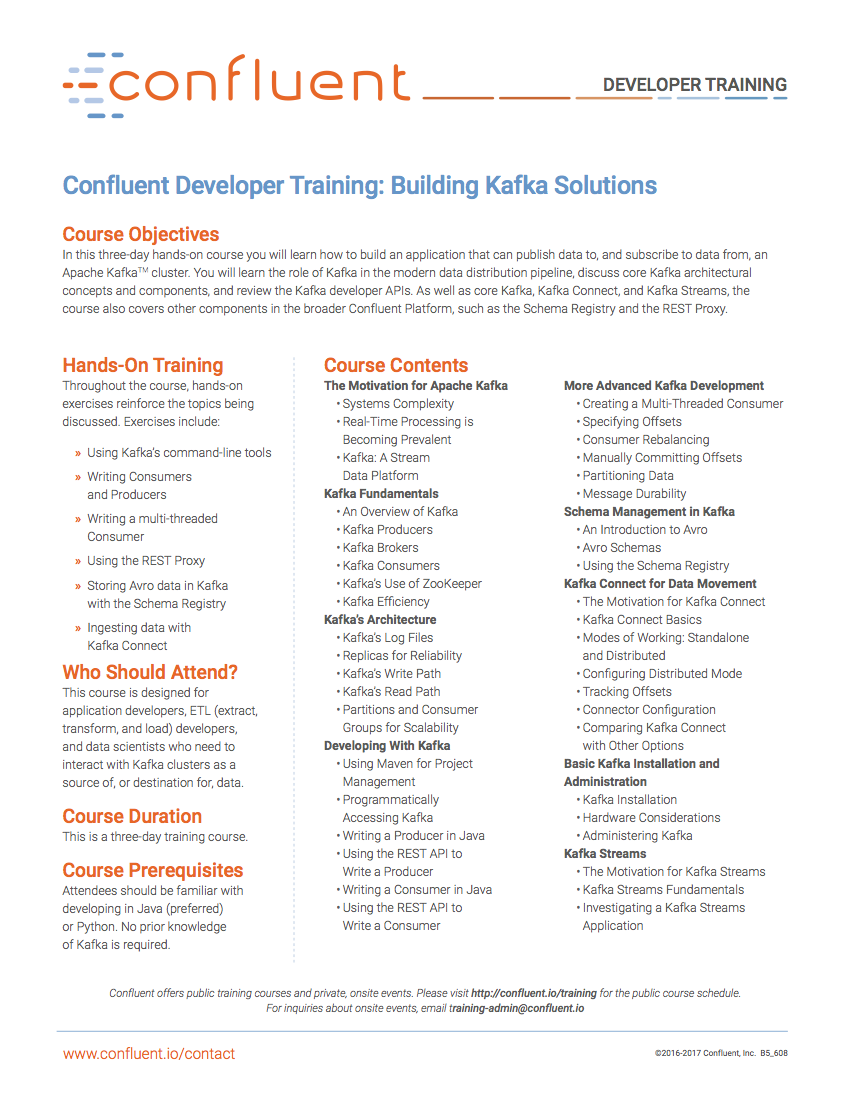 Confluent Developer Training: Building Kafka Solutions