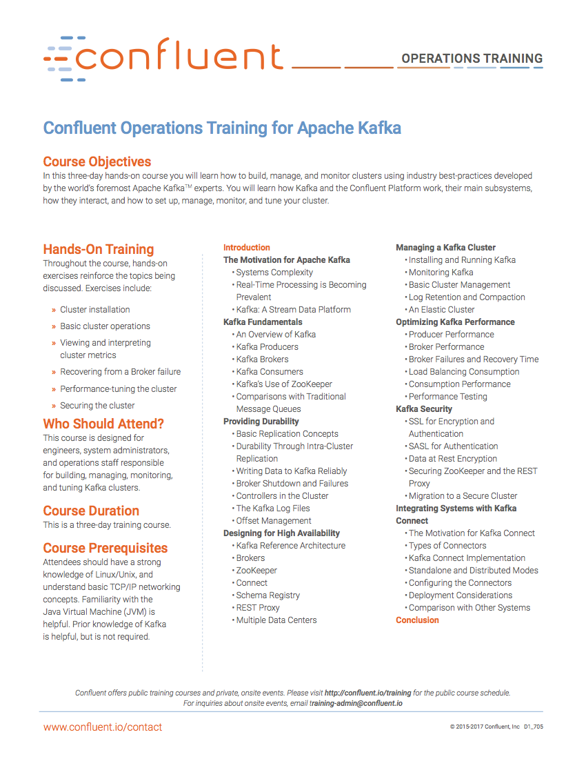 Confluent Operations Training for Apache Kafka