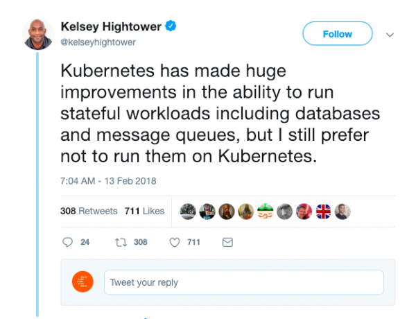 Kelsey Hightower tweets about Kubernetes