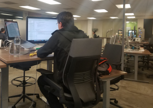 Software engineer being very productive because he uses Kafka