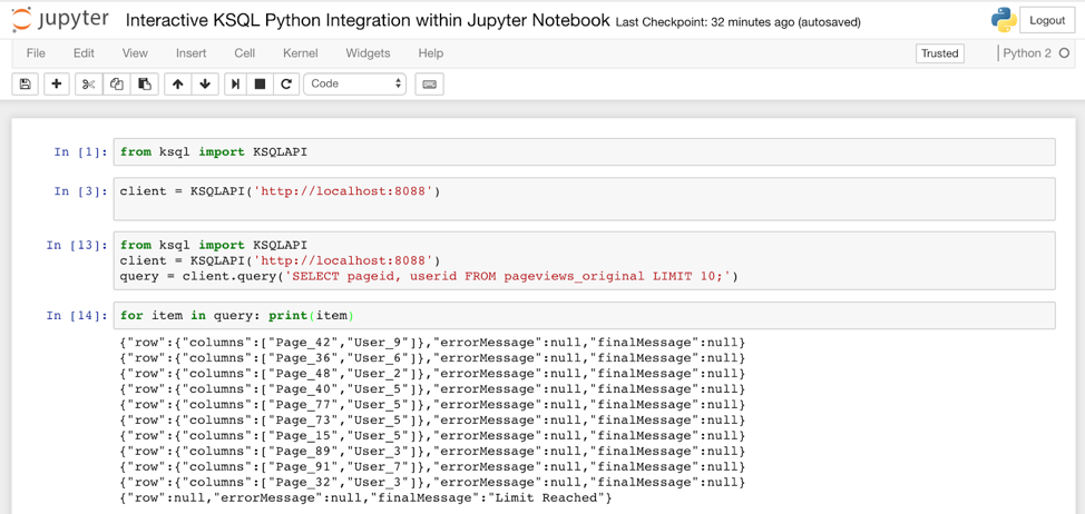 Interactive KSQL Python integration within Jupyter Notebook