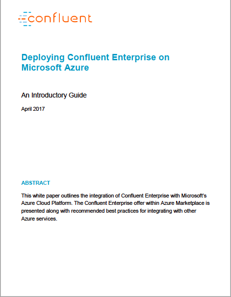 Deploying Confluent Enterprise on Microsoft Azure