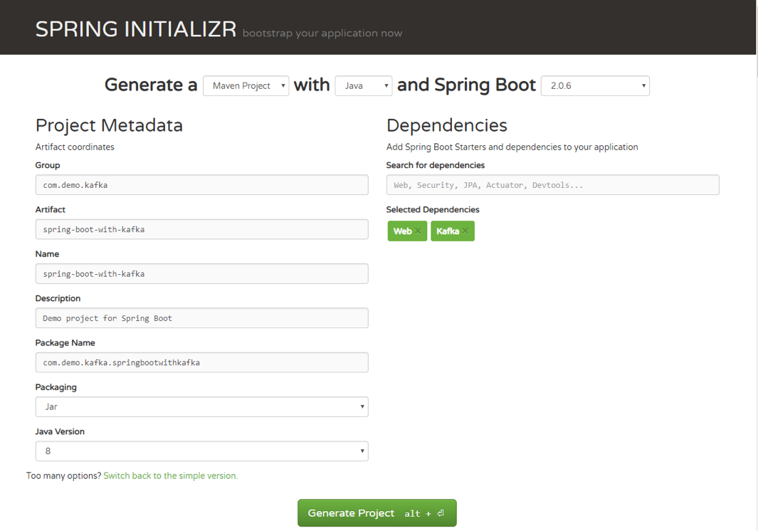 Generate a Spring Boot project with Spring Initializr