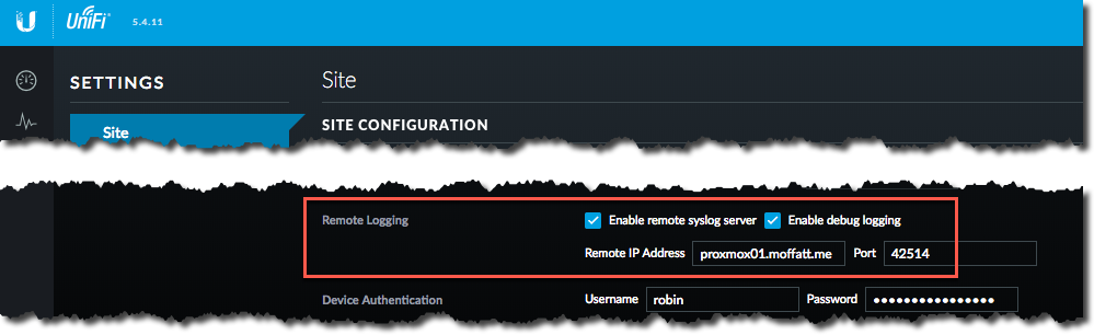 Unifi control panel syslog setting