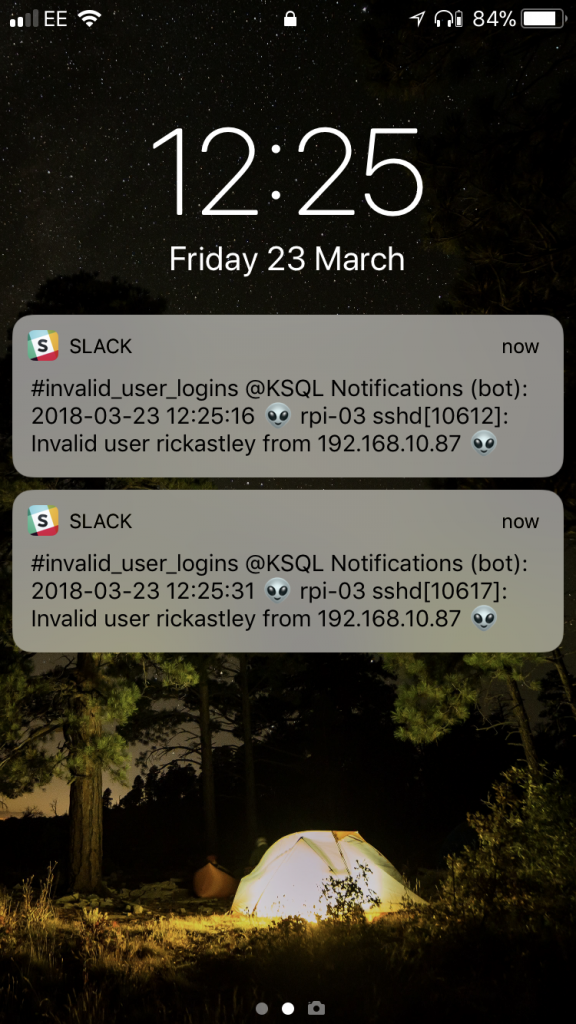 KSQL notification on iPhone