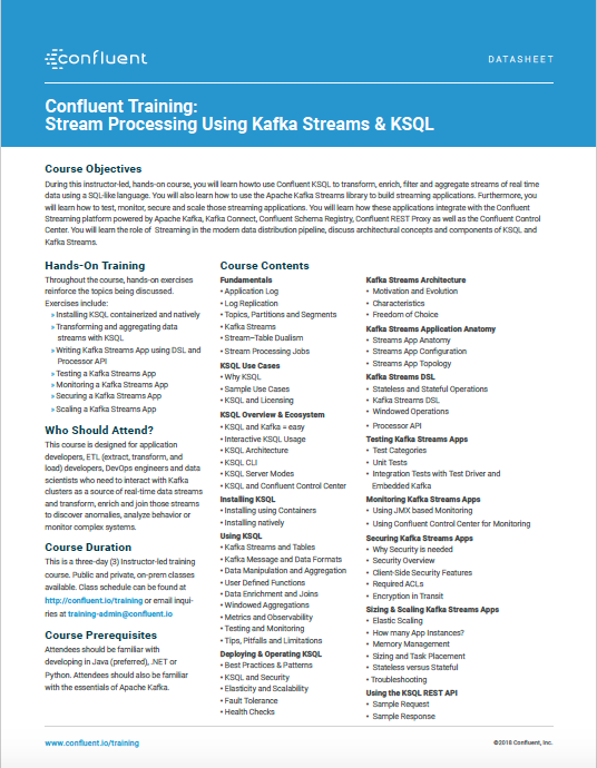 Confluent Training: Stream Processing Using Kafka Streams & KSQL